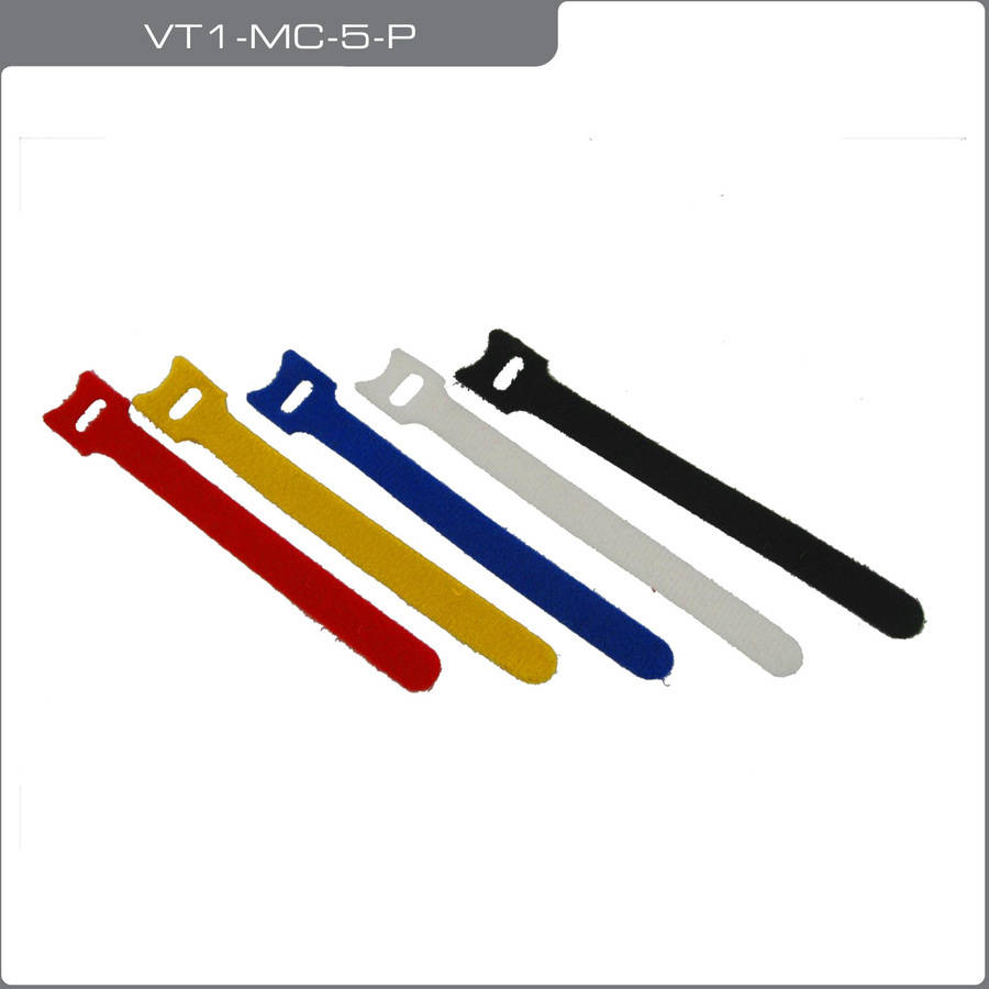 QualGear VT3-MC-5-P Premium Reusable Self-Gripping Cable Ties, 5 Pieces, Assorted Colors