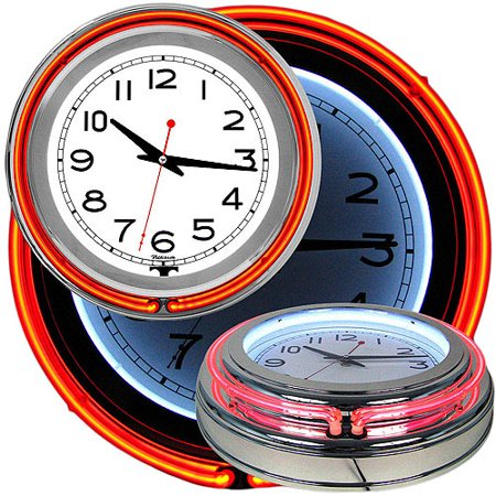 14u0022 Retro Neon Wall Clock, Double Light Ring Vintage Style Clock by Lavish Home