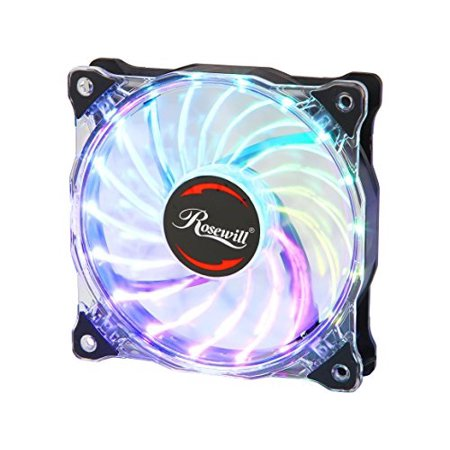 rosewill 120 mm rgb case fan rgbf-17003  true rgb color ultra quiet cooling  fan with long life sleeve bearing  standard size 120mm case fan compatible