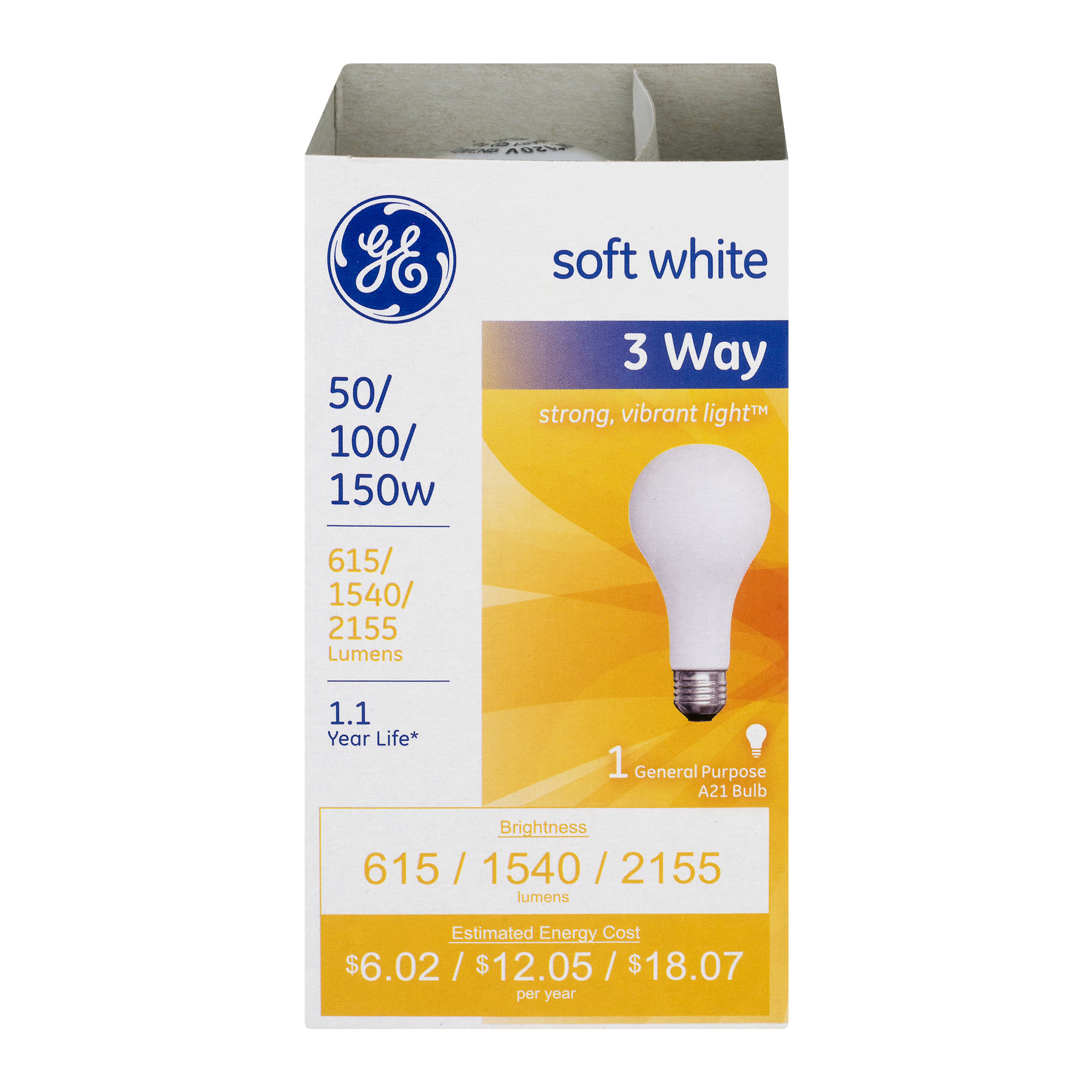 GE 3 Way Lightbulb Soft White 50W/100W/150W, 1.0 CT