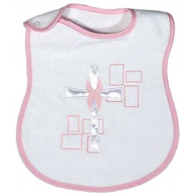 Raindrops A82135P Raindrops Satin Cross Appliqued Bib, Pink