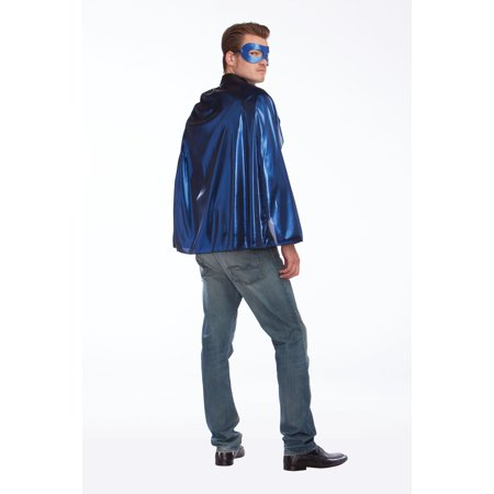 Metallic Cape with Reversible Mask - Adult Superhero Capes