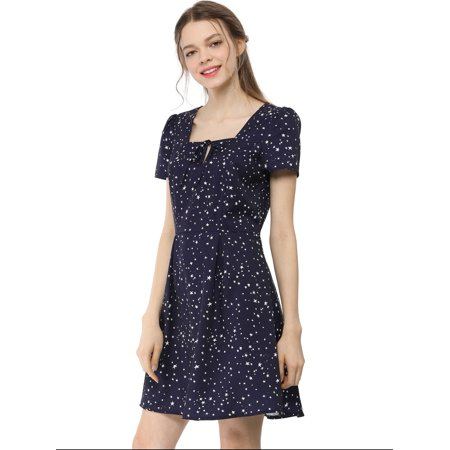 A-line Square Neck - Women's Star Square Neck Short Sleeve A-Line Dress