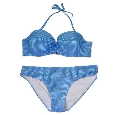 Pixie Pier Women's Blue Allover Pattern Halter Top 2 Pc Bikini Swimsuit Blue 2 Bikini