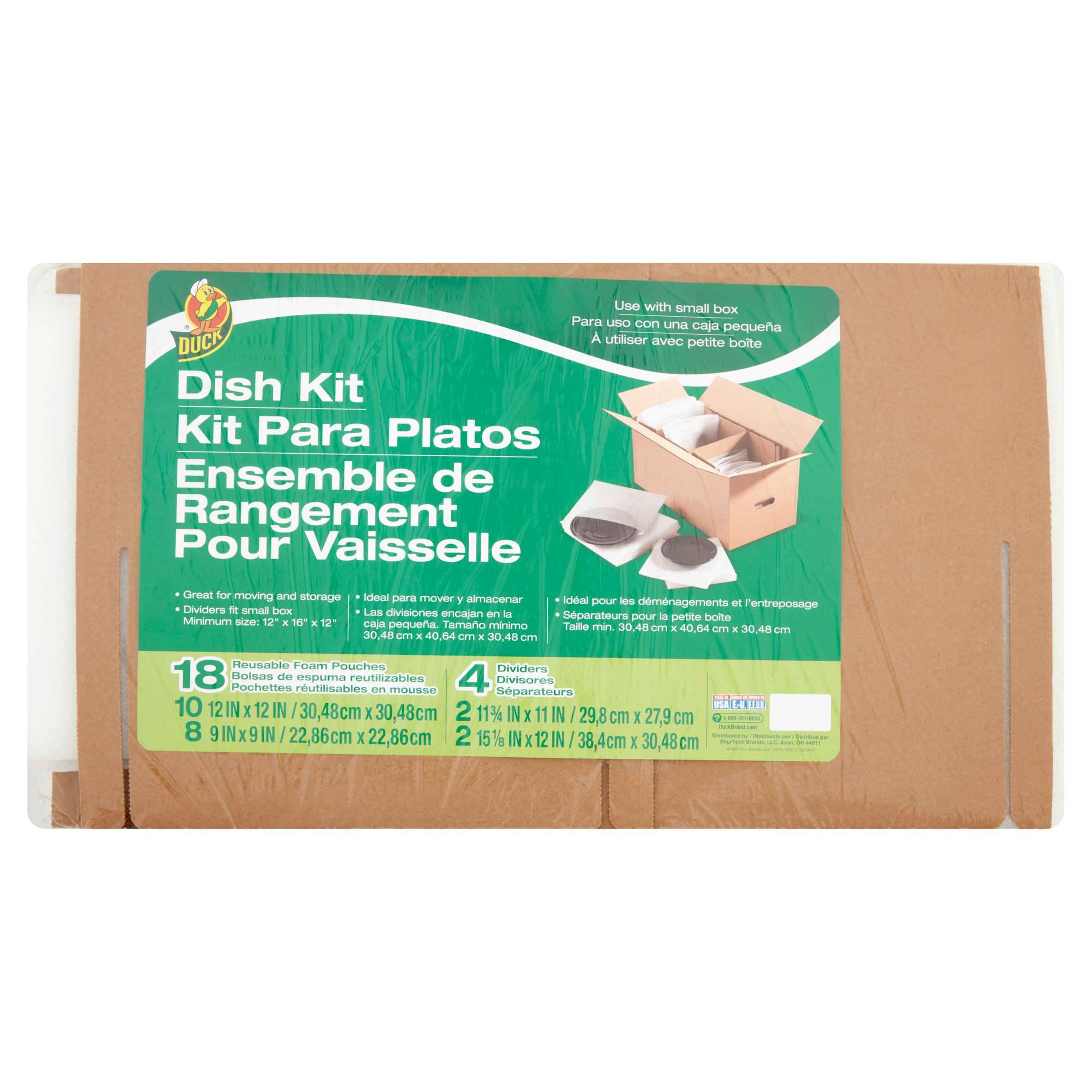 Duck Dish Moving Kit, Includes 18 Foam Pouches and 4 Dividers (Box Not Included)