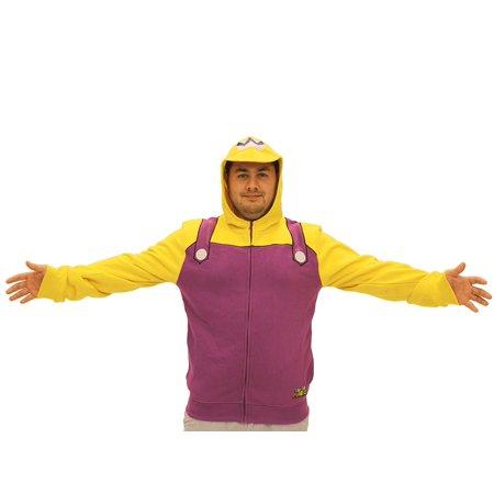 Nintendo Wario Adult Costume Zip Up Hoodie Sweatshirt