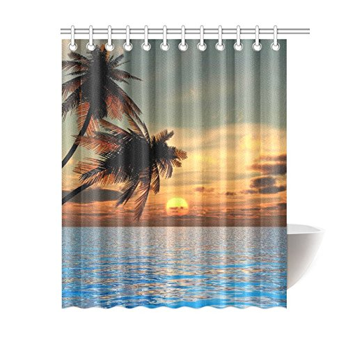 GCKG Vintage Palm Trees Shower Curtain Nautial Coastal Polyester Fabric Bathroom Sets With Hooks 60x72 Inches