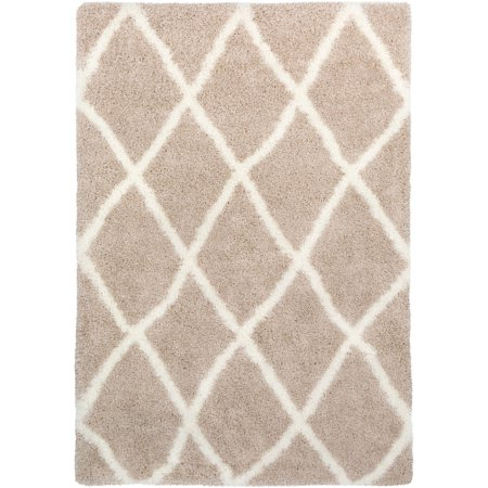 6.5' x 9.5' Geometric Brown and Cream White Rectangular Area Throw Rug ()