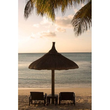 Mauritius Beach Scene Umbrella Chairs Palm Fronds Canvas Art Peter Skinner Danitadelimont 11 X