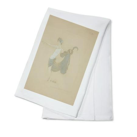 Paris Qui Brille costume design Vintage Poster (artist: Zig) France c. 1931 (100% Cotton Kitchen Towel) (Brille 100 Uv Schutz)