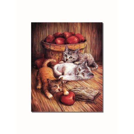 More Kittens and Apples with Apple Basket Wall Picture 8x10 Art (Apple Wall Art)