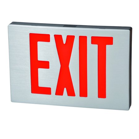 Cast Aluminum LED Exit Sign - Red Lettering, Black Housing, Aluminum Face