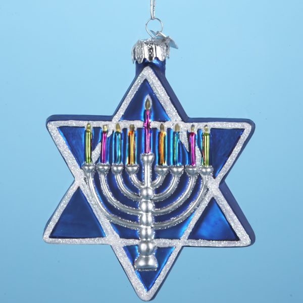 "4.5"" Noble Gems Glass Jewish Star of David Hanukkah Ornament"