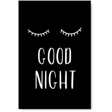 Awkward Styles Good Night Poster Wall Art Closed Eyes Poster for Kids Room Black Poster Inspirational Wall Art Kids Bedroom Decor Ideas Good Night Printed Wall Art Kids Bedroom Printed (Decor Ideas For Bedroom Black And White)