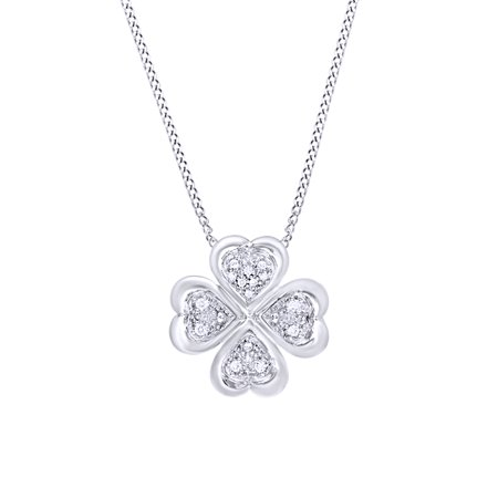 White Natural Diamond Clover Pendant Necklace in 14k White Gold Over Sterling Silver (0.1 Ct) Diamond Clover Key Pendant