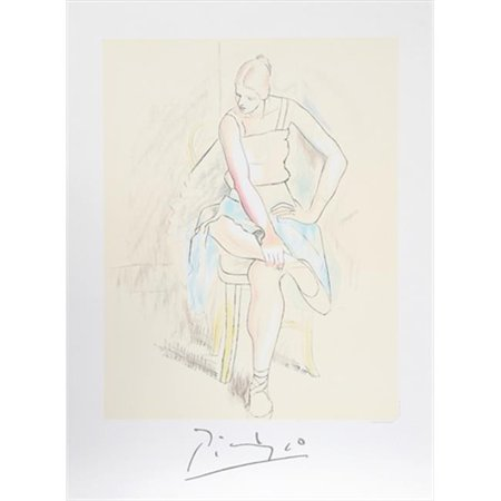 Pablo Picasso 2072 Femme Assise  44  Lithograph On Paper 29 In  X 22 In    Yellow  44  Blue  44  Pink