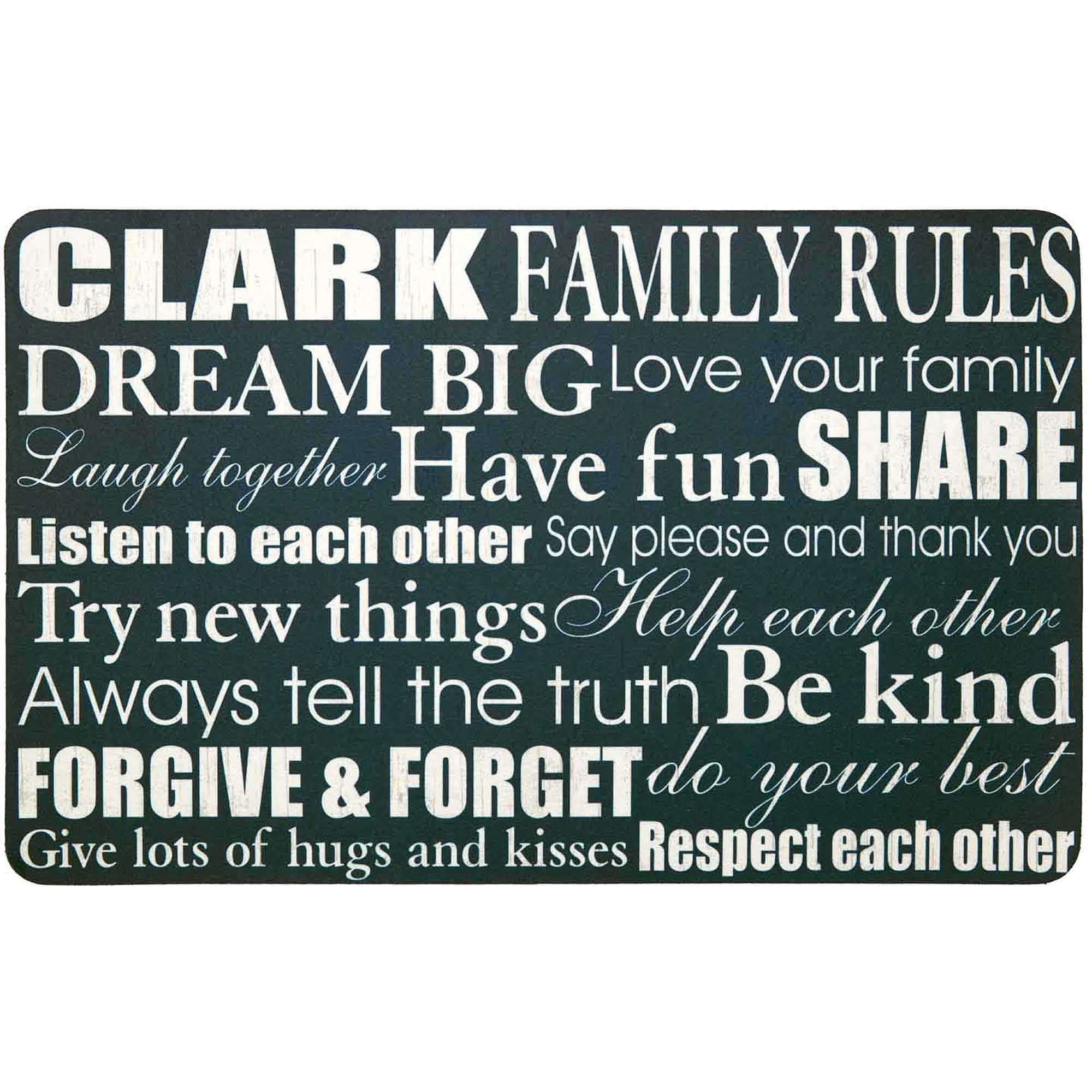 "Personalized Family Rules Doormat, 17"" x 27"""