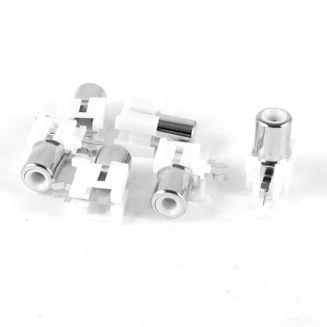6Pcs PCB Panel Mount AV Female Jack RCA Socket Connector White - image 1 of 1