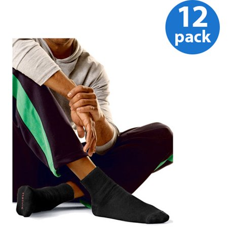 Hanes Mens FreshIQ Ankle Cushion Socks, 12 Pack, Black, Size 6-12