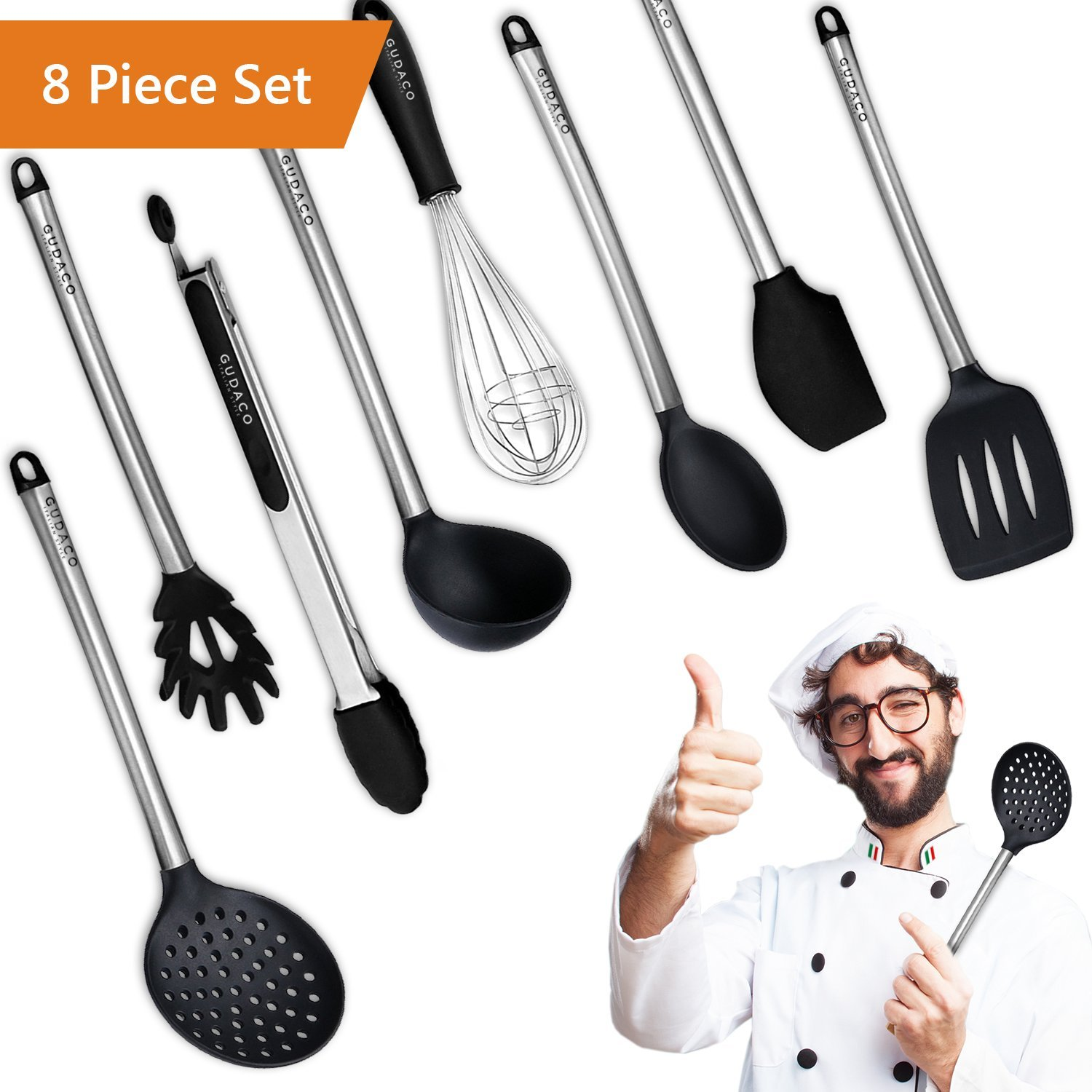 Premium Kitchen Utensils Italian Style, 8 Piece Black Silicone and Stainless Steel Kit, Cooking Gadgets: Serving Tongs, Spoon, Spatula Tools, Pasta Server, Ladle, Strainer, Whisk for Pots, Pans