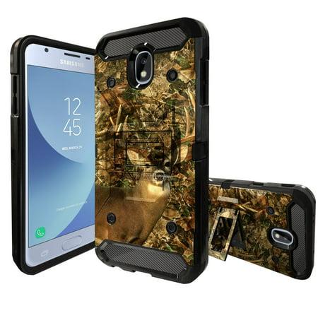 MINITURTLE Case Compatible with Samsung Galaxy J3 Achieve / J3V /J3 2018/ Express Prime 3 / Amp Prime 3 2018 / Sol 3 [Kickstand + 360° Holster] [Built-TOUGH] [3-Piece Case] - Deer Camo