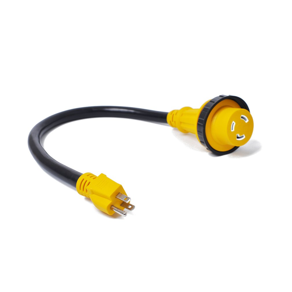 Power Conversion Plug 15a Male To 30a Female For Rv Yacht Total Grip Cord Adapter 125v 30 Amp 15 Length 60cm High Strength Material