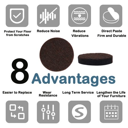 """Felt Furniture Pads Round 1 3/4"""" Self Adhesive Anti-scratch Floor Protector 30pcs - image 2 of 7"""