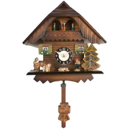 7 Inch Black Forest Chalet Cuckoo (Carved Chalet Clock)