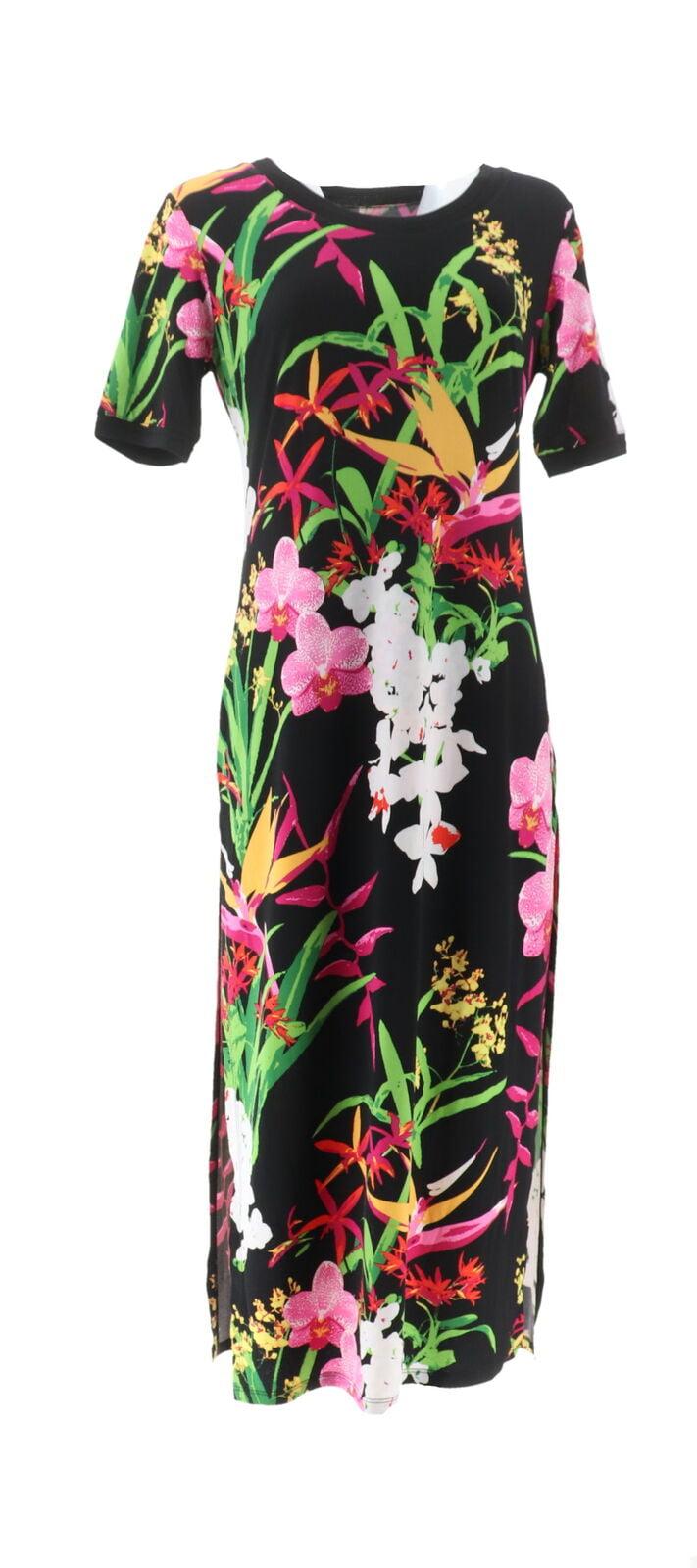 GILI Petite Short-Sleeve Side Slit Maxi Dress Black PM NEW A304669