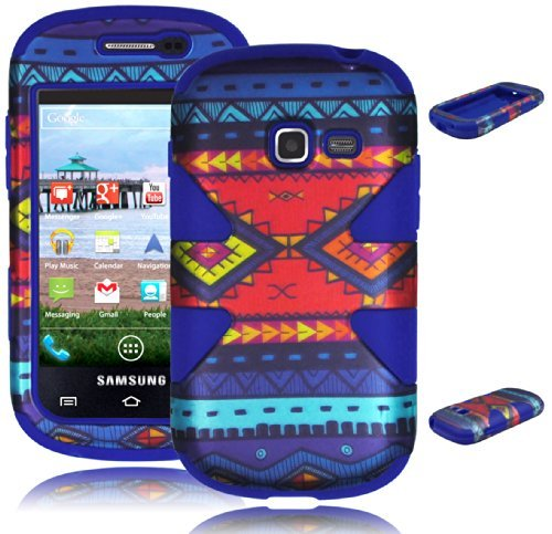 Bastex Dynamic Hybrid Case for Samsung Galaxy Centura S738C - Royal Blue Silicone with Aztec Tribal Hard Snap on Shell Cover