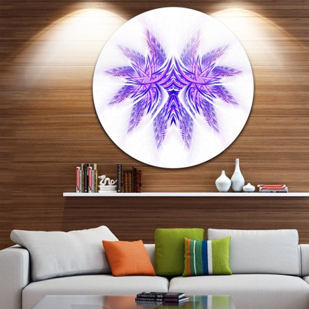 DESIGN ART Designart 'Bright Purple Unique Fractal Flower' Abstract Circle Wall