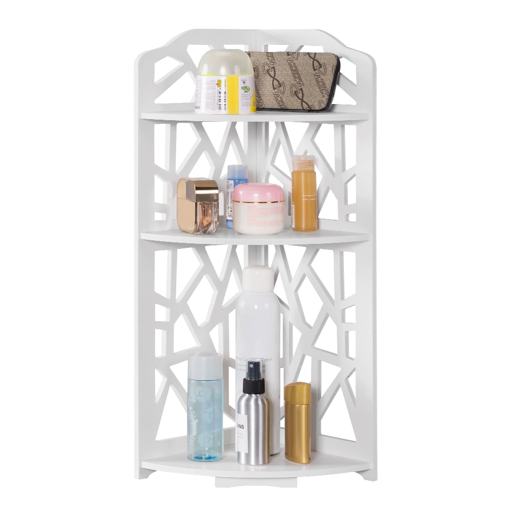 Finether 3-Tier Modular Cut-Out Quarter-Circle Wood Plastic Composite Corner Shelf Unit Storage Organizer Display Rack, White
