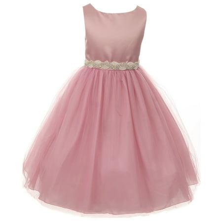 f32152456 Dreamer P - Big Girls' Dress Satin Pearl Rhinestones Tulle Pageant Party Flower  Girl Dress Rose Pink Size 10 (K64K43) - Walmart.com