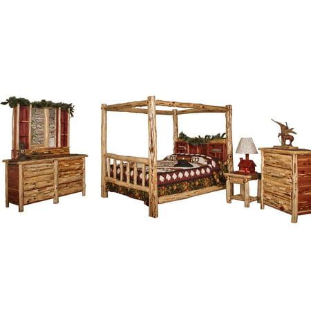 Kunkle holdings llc red cedar log king size 5 pc bedroom for Oak bedroom furniture 0 finance