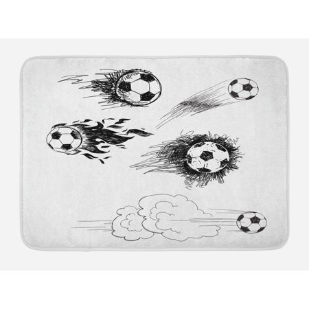 Soccer Bath Mat, Various Round Soccer Balls in Air Fast Kick Shoot in Flame Kickoff Space Art Sketch, Non-Slip Plush Mat Bathroom Kitchen Laundry Room Decor, 29.5 X 17.5 Inches, Black White, Ambesonne
