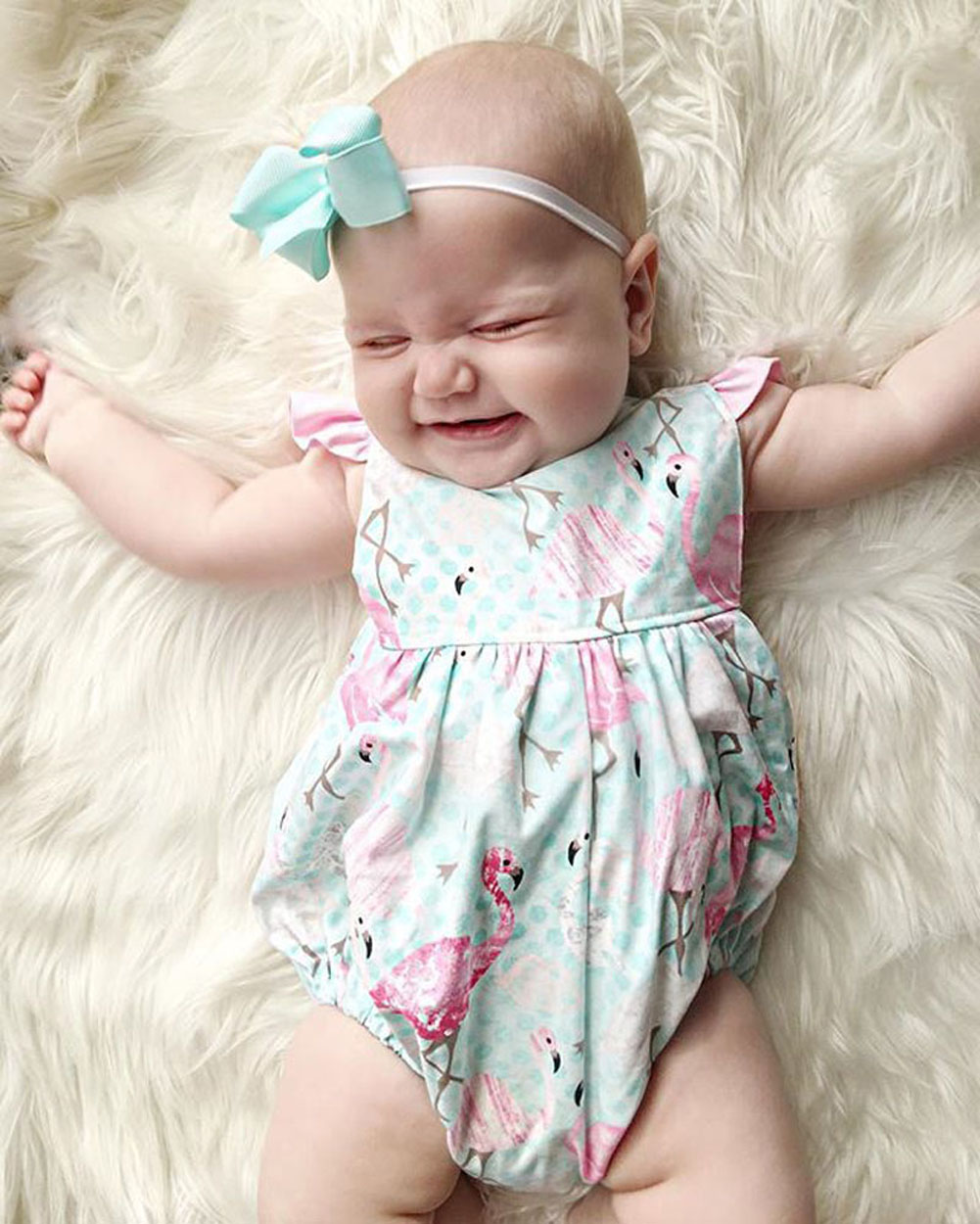 Newborn Infant Kid Baby Girl Romper Bodysuit Jumpsuit Clothes Outfits Polka Dot