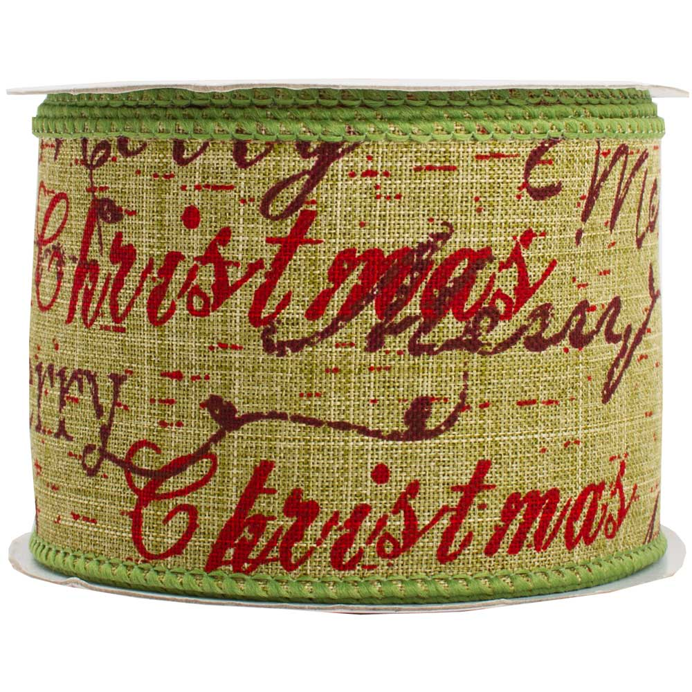 JAM Paper Wire Edged Ribbon, 2 1/2 x 10 yards, Green Merry Christmas, Sold Individually