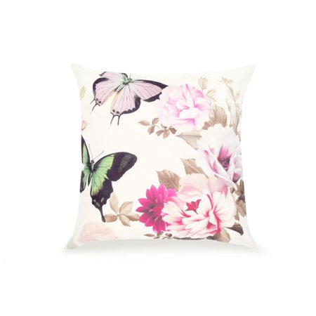 Pal Fabric Blended Linen Flower Square 18x18 Pink Butterfly and Flower Pillow (Butterfly Flower Cover)