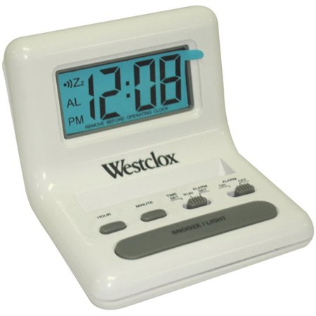 Westclox 47539 0 8  White Lcd Alarm Clock With Light On Demand