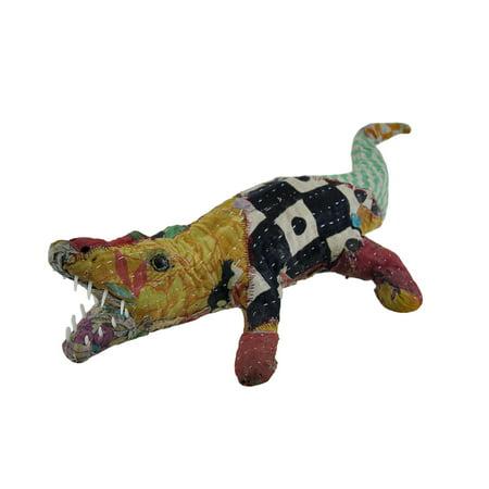 Vintage Sari Fabric Covered Paper Mache Alligator Sculpture - image 3 of 3