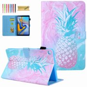 For Galaxy Tab A 10.1 Inch Tablet 2019 SM-T510/T515, Dteck Patterned PU Leather Magnetic Flip Wallet Stand Case Cover, Pineapple