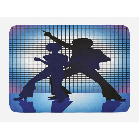 70s Party Bath Mat, Couple Silhouettes on the Dance Floor in Night Life Oldies Seventies Fun, Non-Slip Plush Mat Bathroom Kitchen Laundry Room Decor, 29.5 X 17.5 Inches, Blue Purple Black, Ambesonne