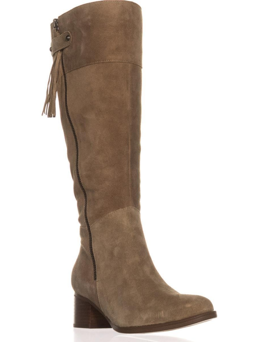 Womens Naturalizer Demi Wide Calf Riding Boots, Oatmeal, 6.5 W US by Naturalizer