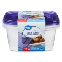 Great Value BPA Free Take Outs Containers, Deep Dish, 64 fl oz, 3 Count