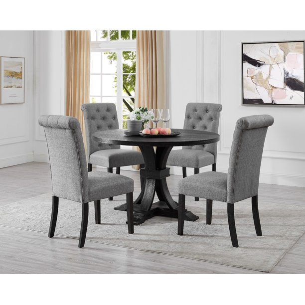 Siena Distressed Black Finish 5 Piece Dining Set Pedestal Round Table With Gray Upholstered Chairs Walmart Com Walmart Com