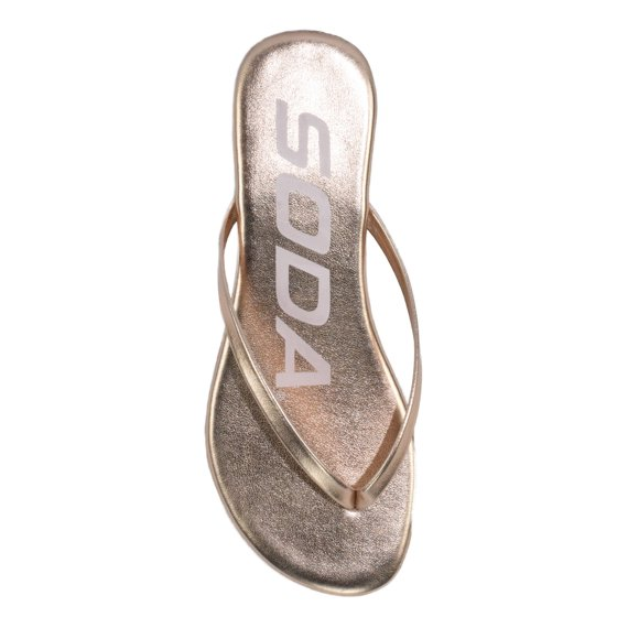 e7df3ba5f1fc SODA - Soda Shoes Women Flip Flops Basic Plain Sandals Strap Casual Beach  Thongs SeaShell Light Gold 5.5 - Walmart.com