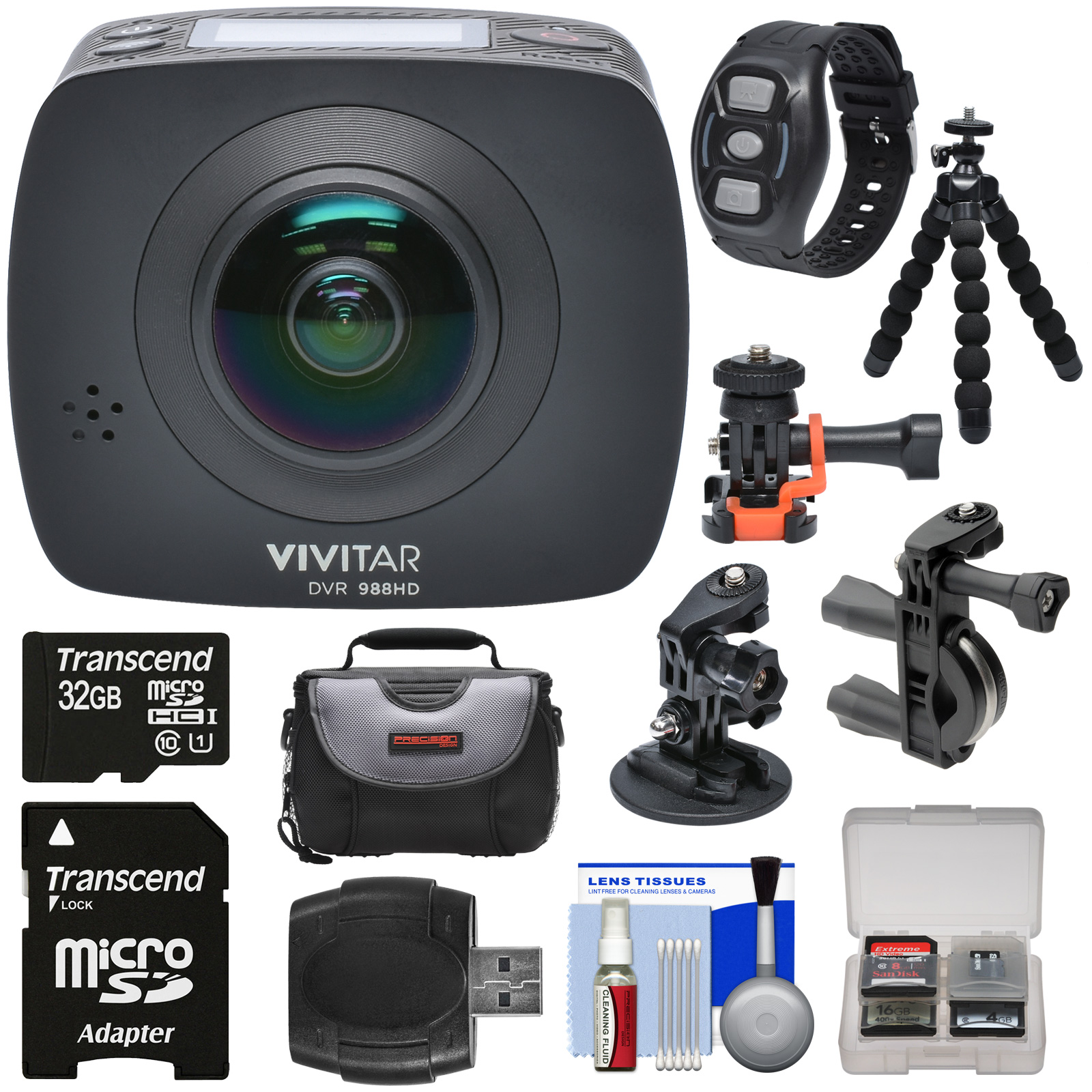 Vivitar DVR988HD 360 VR Wi-Fi Action Video Camera Camcord...