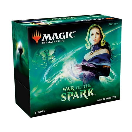 Magic: The Gathering War of the Spark Bundle- 10 Booster Packs | 10 Planeswalker Trading Cards | 1 Spindown Life Counter