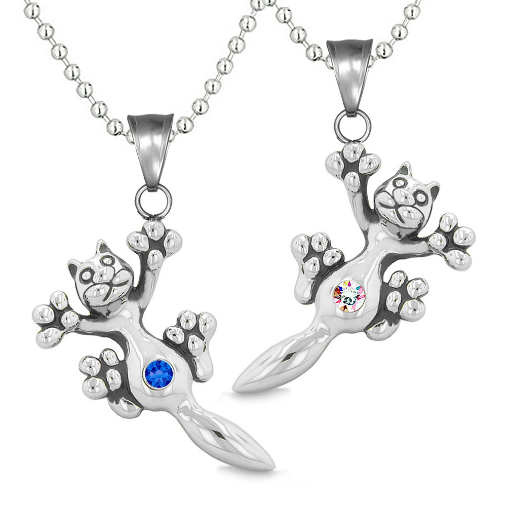 Amulets Cute Kitty Cat Love Couples or Best Friends Set Royal Blue Rainbow Sparkling Crystals Necklaces