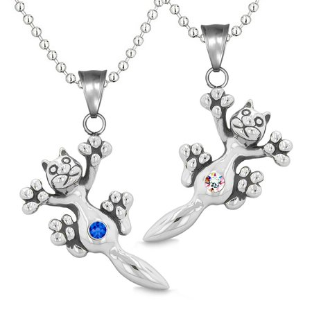 Amulets Cute Kitty Cat Love Couples or Best Friends Set Royal Blue Rainbow Sparkling Crystals